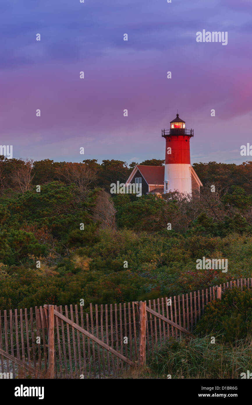 Nauset Light is located along the Cape Cod National Seashore near Nauset Beach at Eastham. - Stock Image