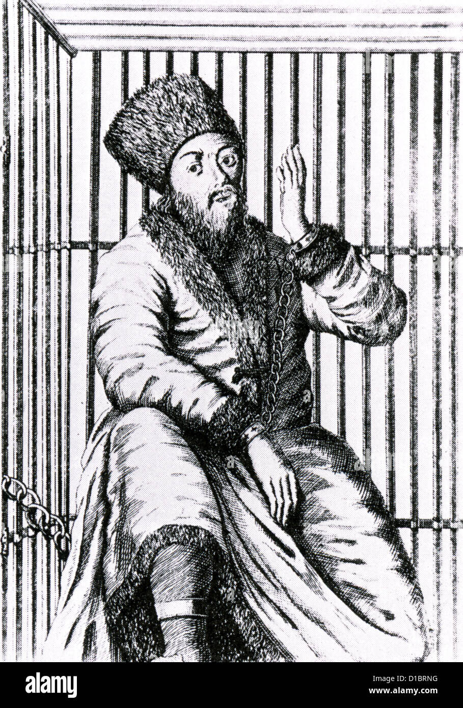 YEMELYAN PUGACHEV (1742-1775)  Cossack pretender to the Russian throne being exhibited in a cage after rebellion - Stock Image