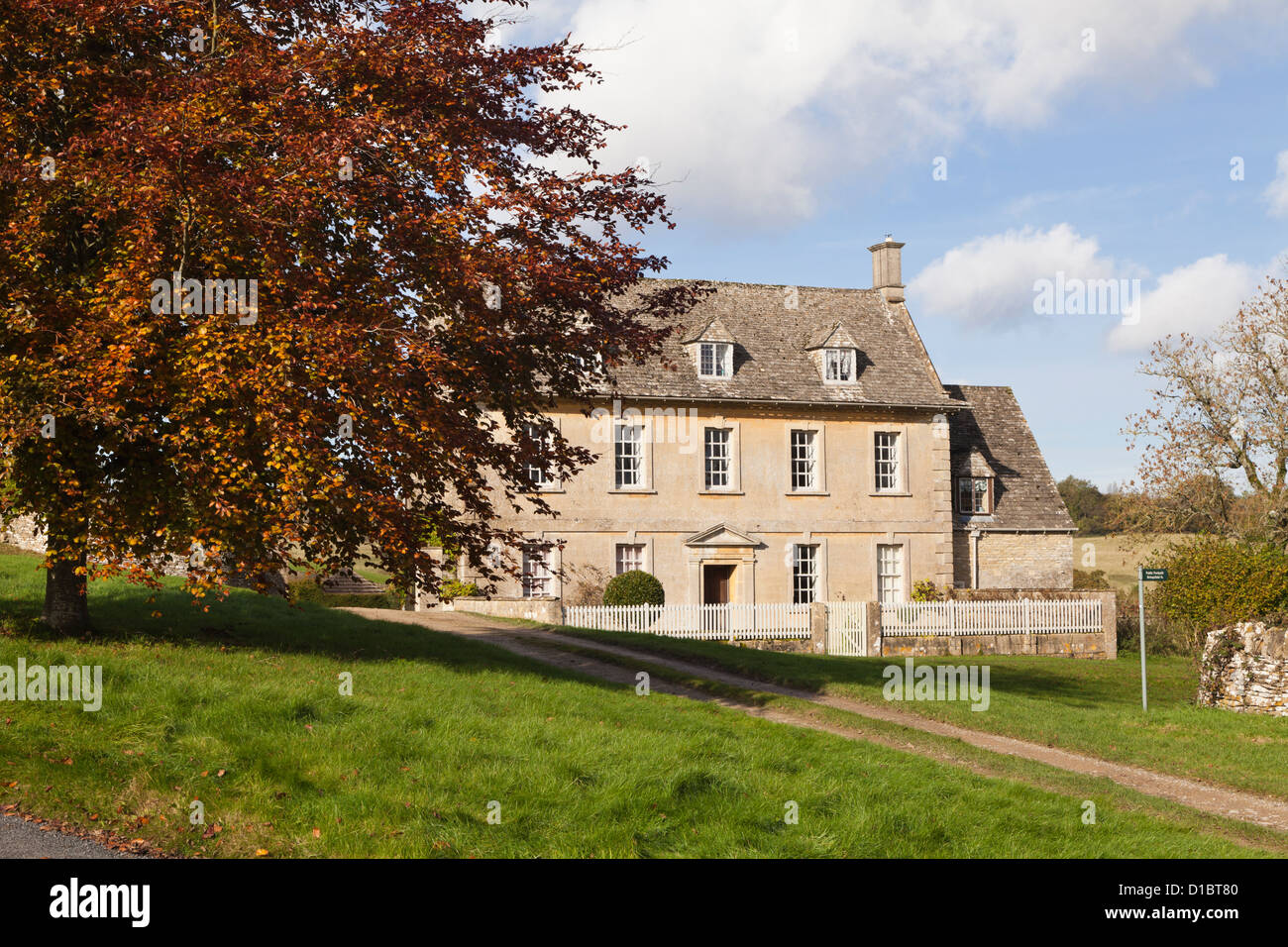 Autumn in the Cotswold village of Caudle Green, Gloucestershire, UK - Stock Image