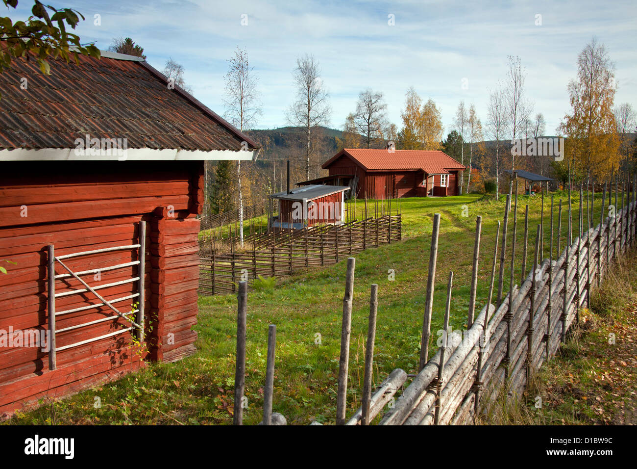 Traditional red wooden farmhouse cottage in autumn, Dalarna, Sweden, Scandinavia - Stock Image