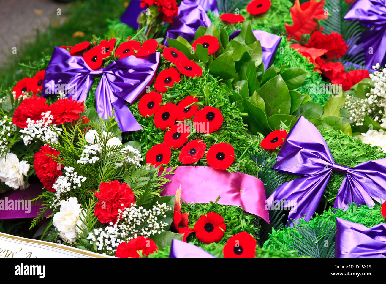 Wreaths and Poppies at  Remembrance Day Service Nov 11 Canada - Stock Image