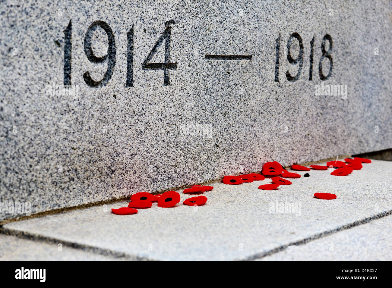 Poppies at Remembrance Day Service Nov 11 Canada - Stock Image