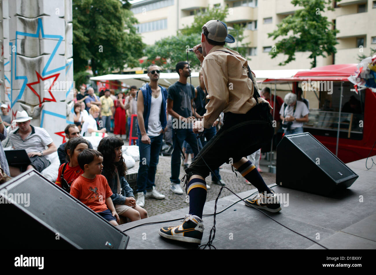 Berlin, Germany, Saenger a hip hop band that plays on the Wedding Dress 4 Stock Photo