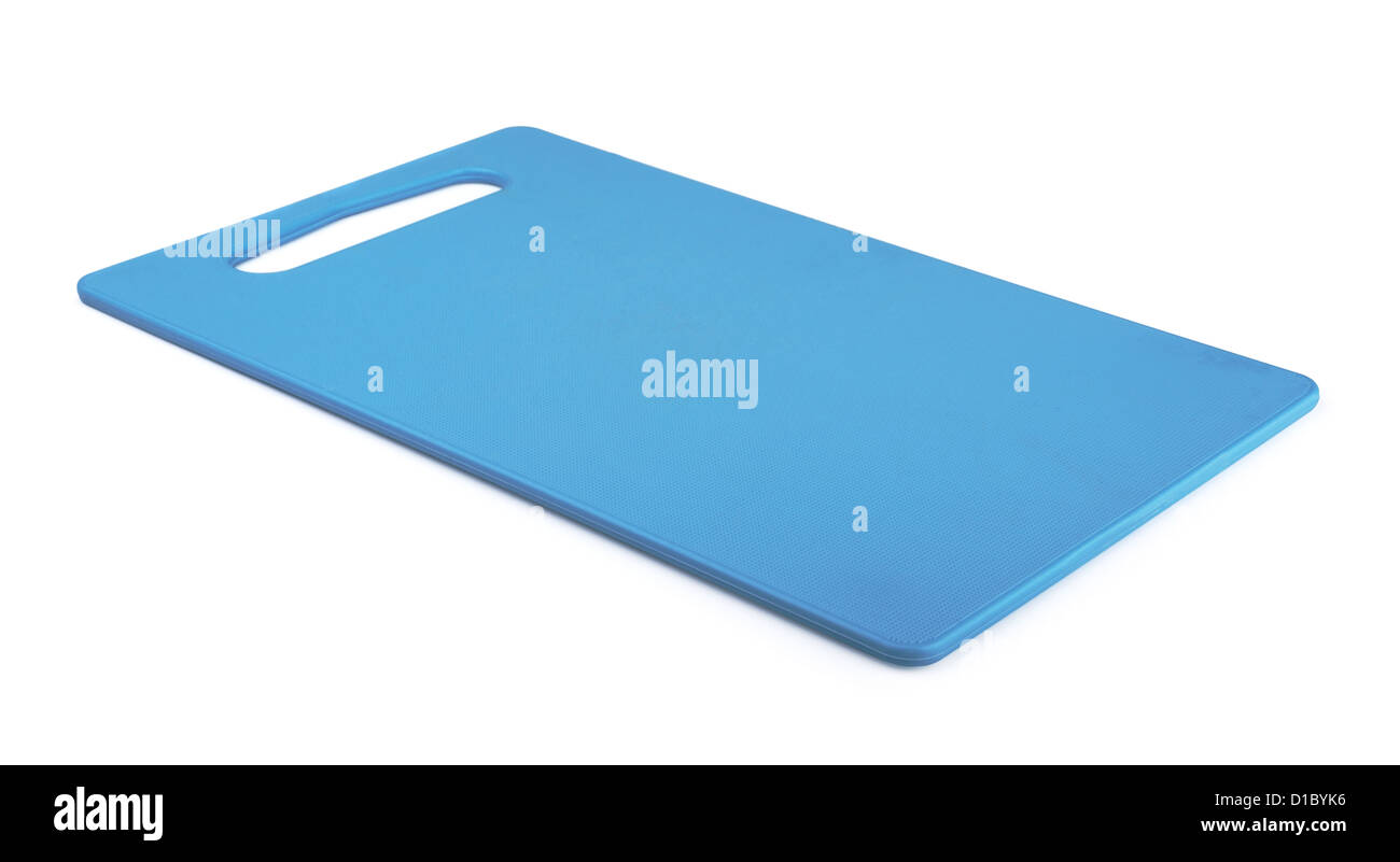 Blue plastic cutting board isolated on white - Stock Image