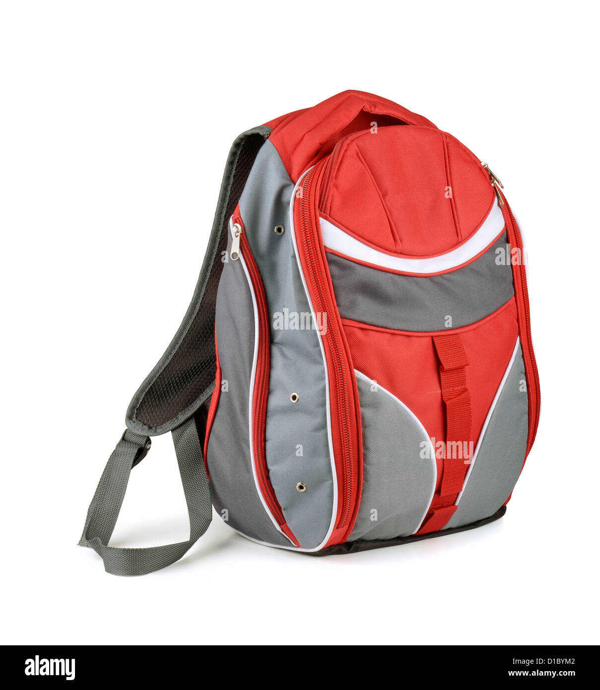 Red and gray backpack isolated on white - Stock Image