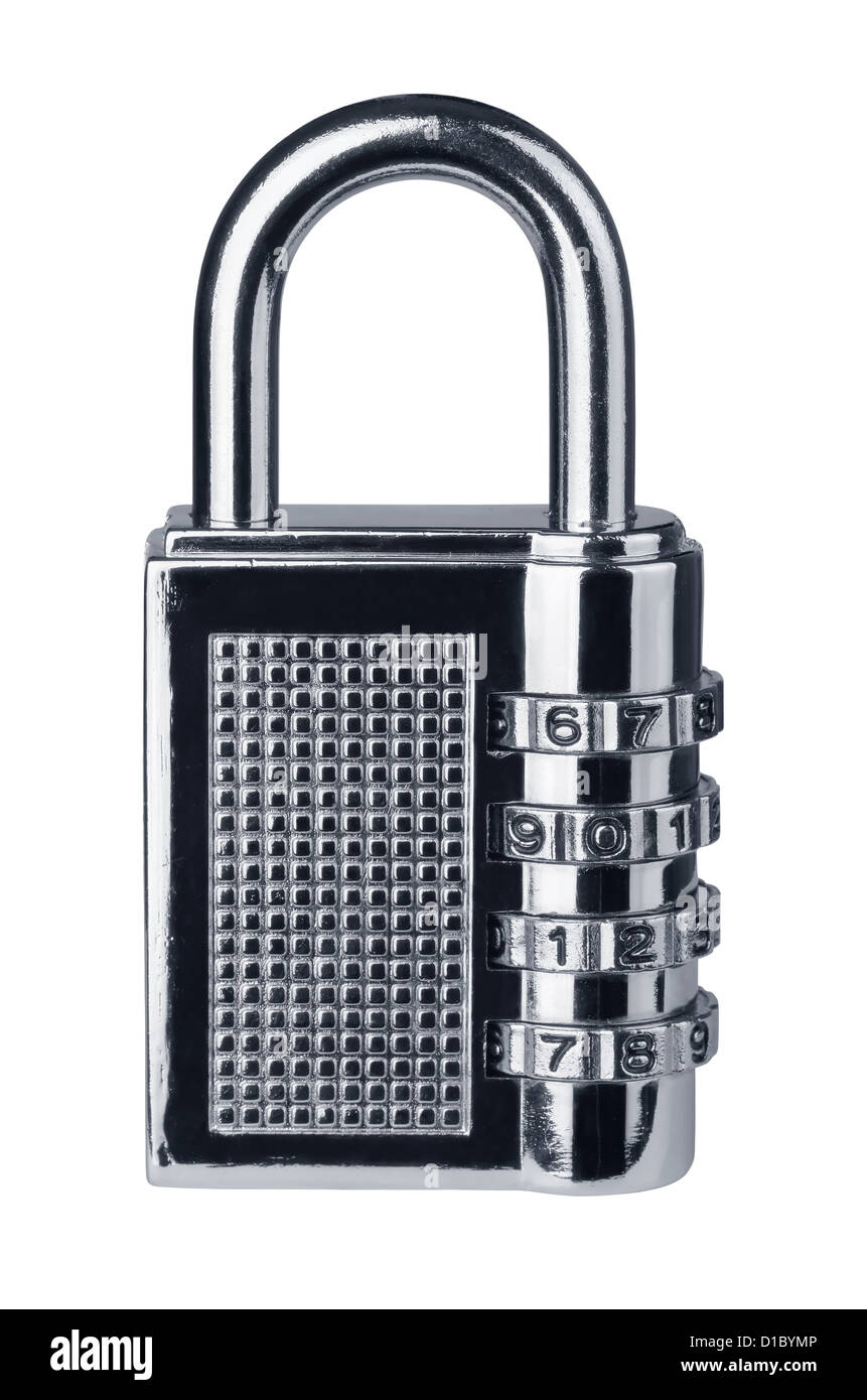 Closed combination lock isolated on white - Stock Image
