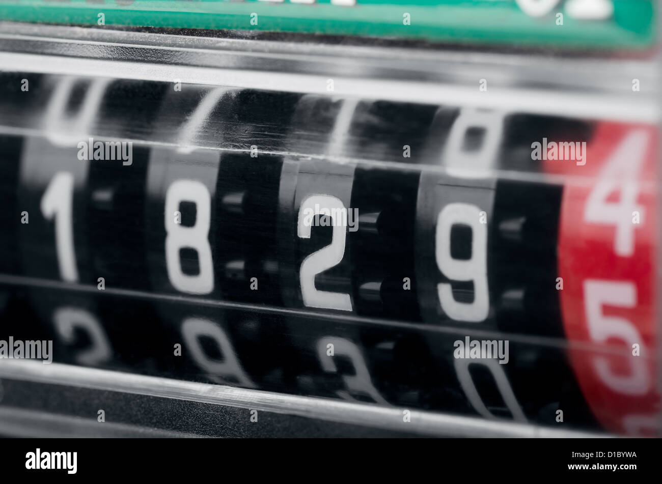 Close up of modern electricity meter counter - Stock Image