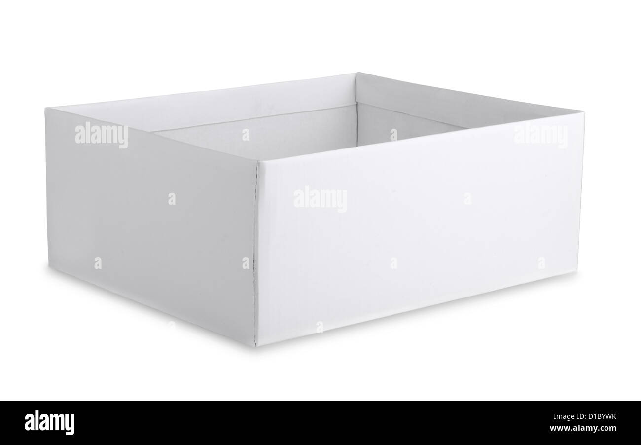 Open cardboard white box isolated on white - Stock Image