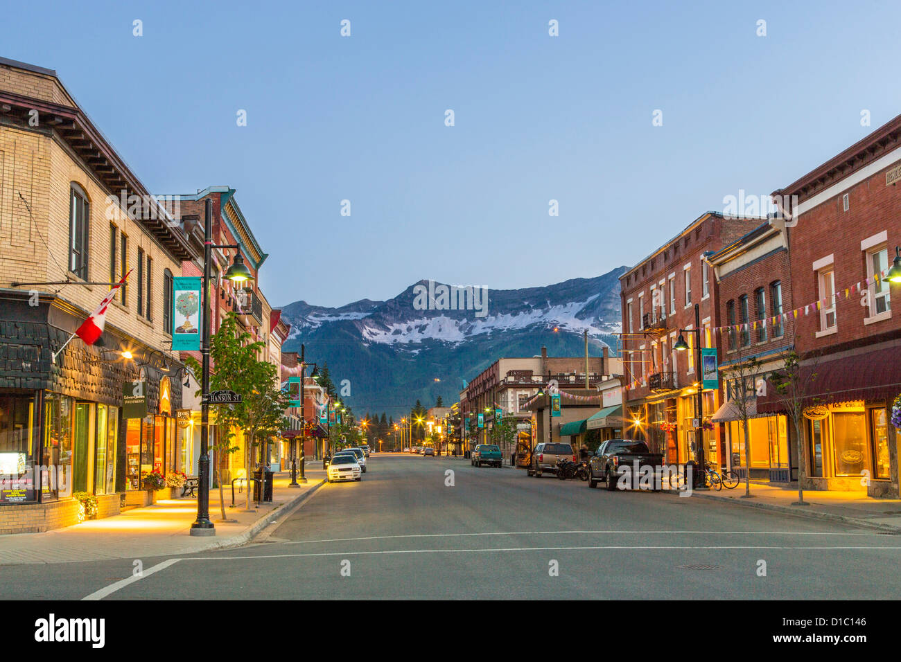 Historic 2nd street in downtown Fernie, British Columbia, Canada - Stock Image