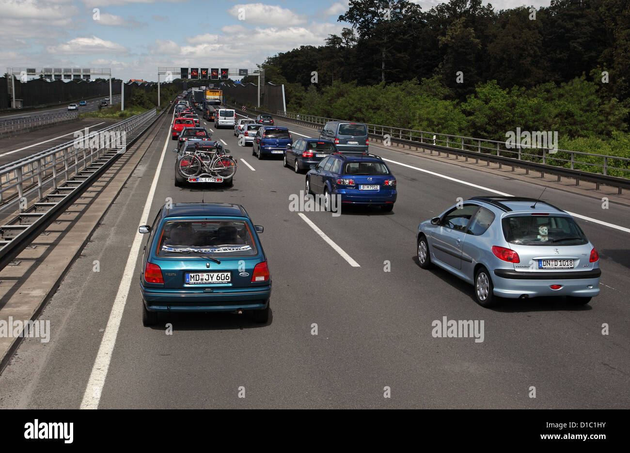 Helmstedt, Germany, jam on the A2 towards Hannover Stock Photo