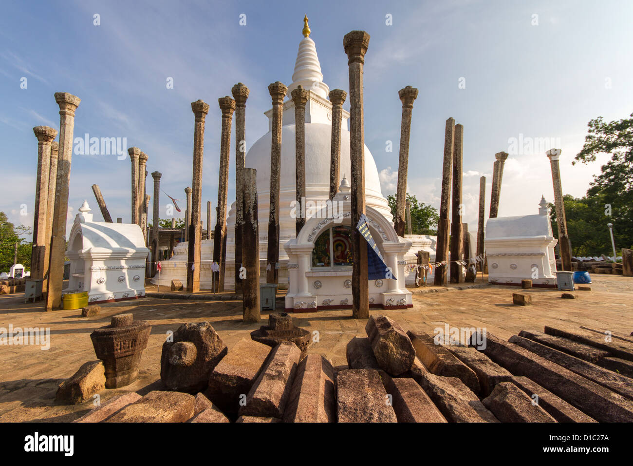 Pillars laying at Thuparamaya - Stock Image