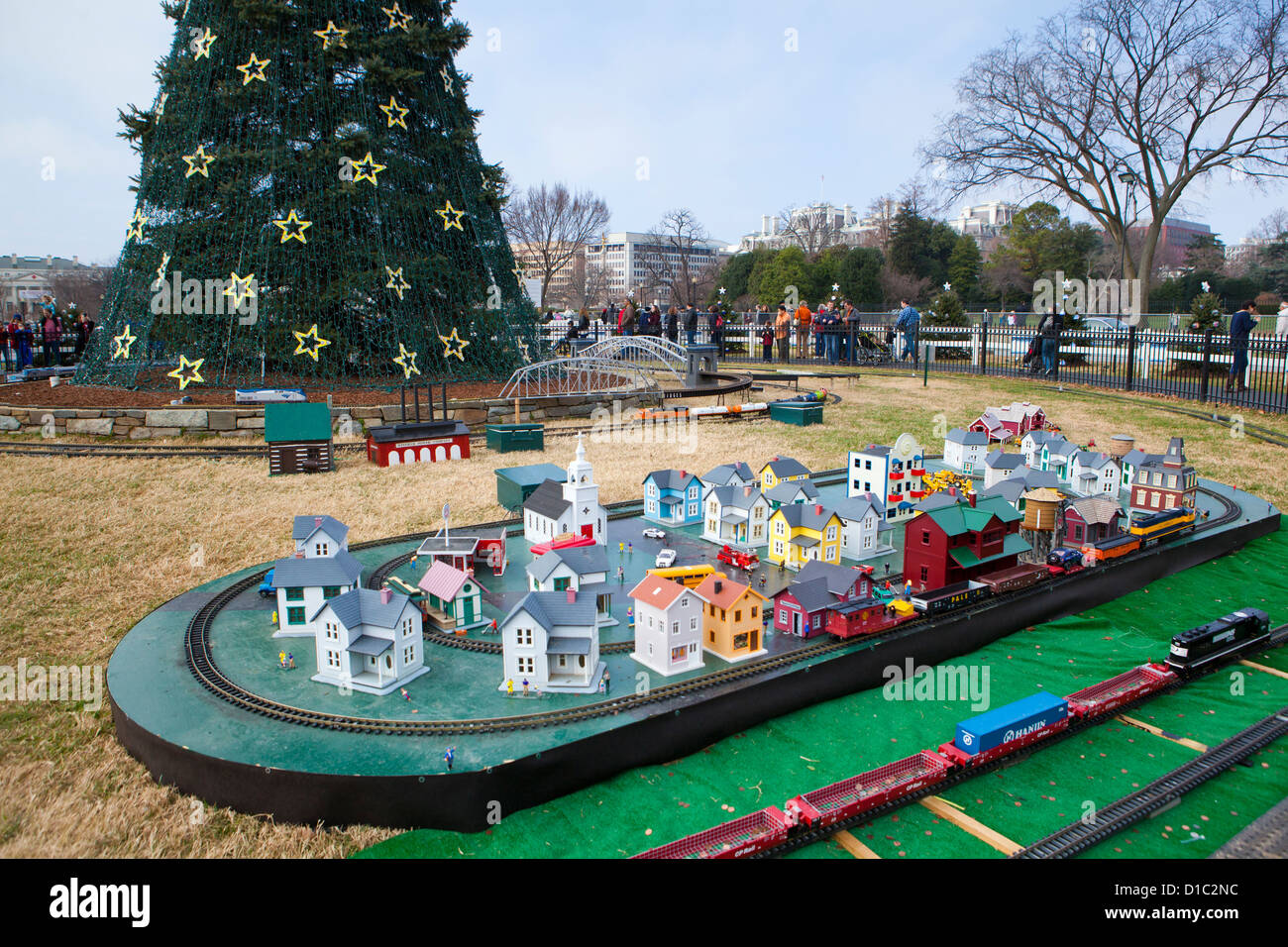 2012 National Christmas tree and model train exhibit - Washington, DC - Stock Image