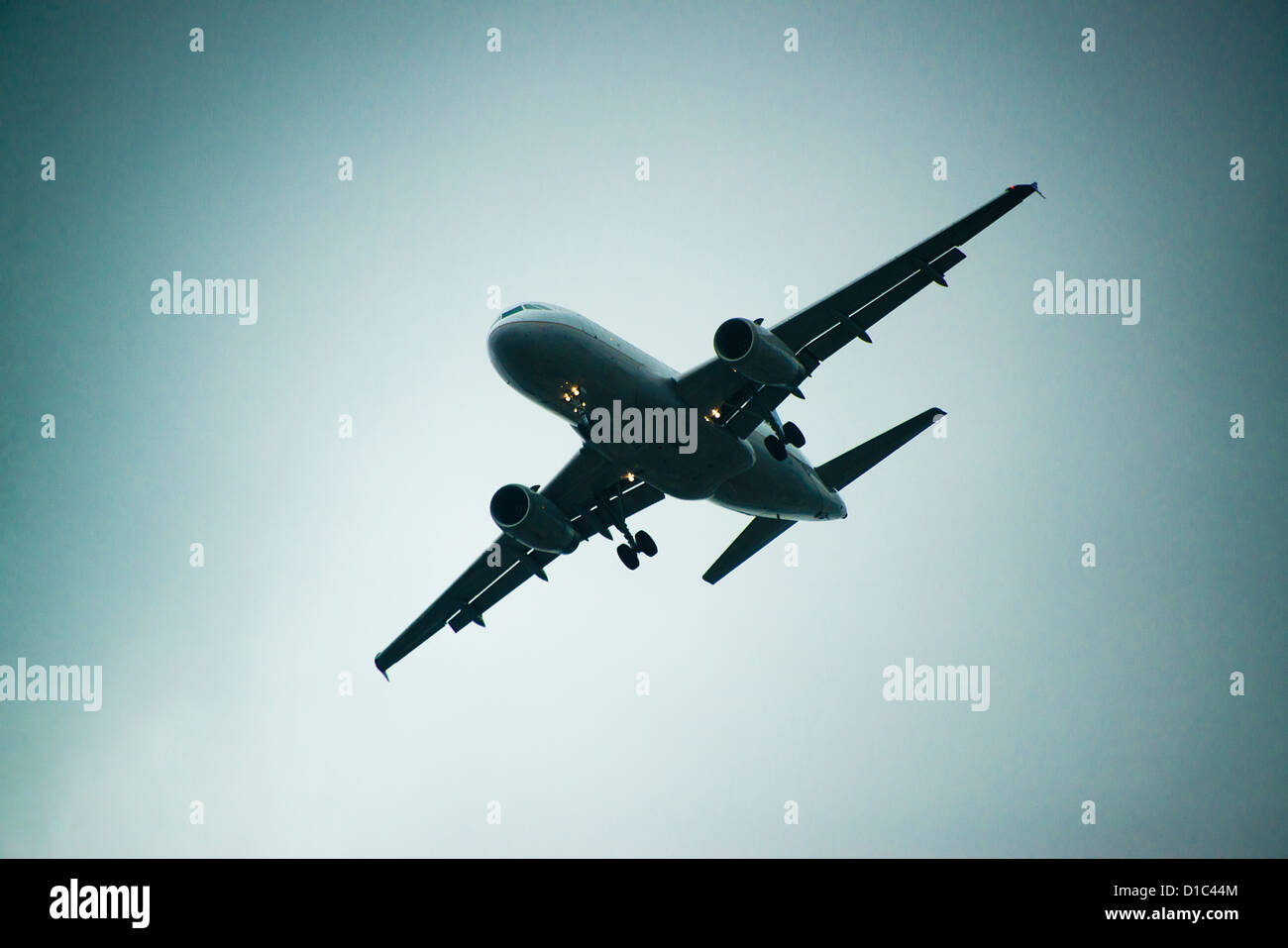 Jet airplane in flight. - Stock Image