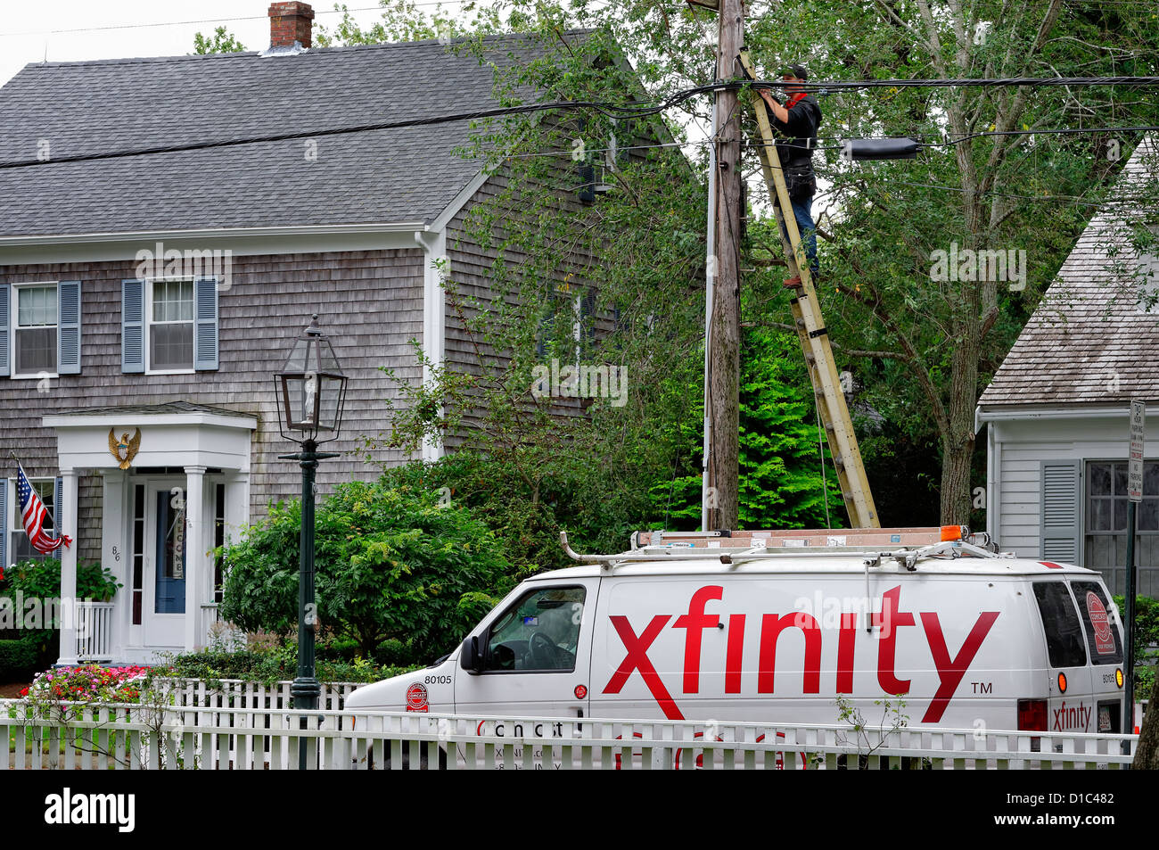 Cable Tv Installation Stock Photos Comcast Wiring Diagram Worker Intalls Xfinity Service To Residential Home Marthas Vineyard Massachusetts Usa