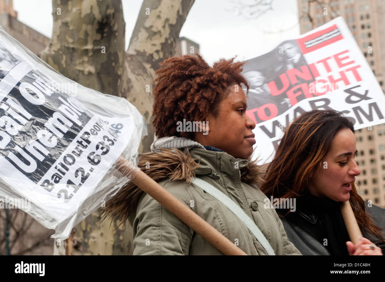 Anti Corporate Bail Out protesters march down Broadway to Battery Park ©Stacy Walsh Rosenstock/Alamy - Stock Image