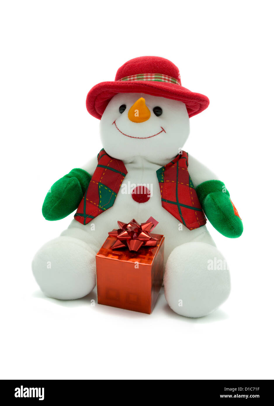 Christmas Snowman with present - Stock Image