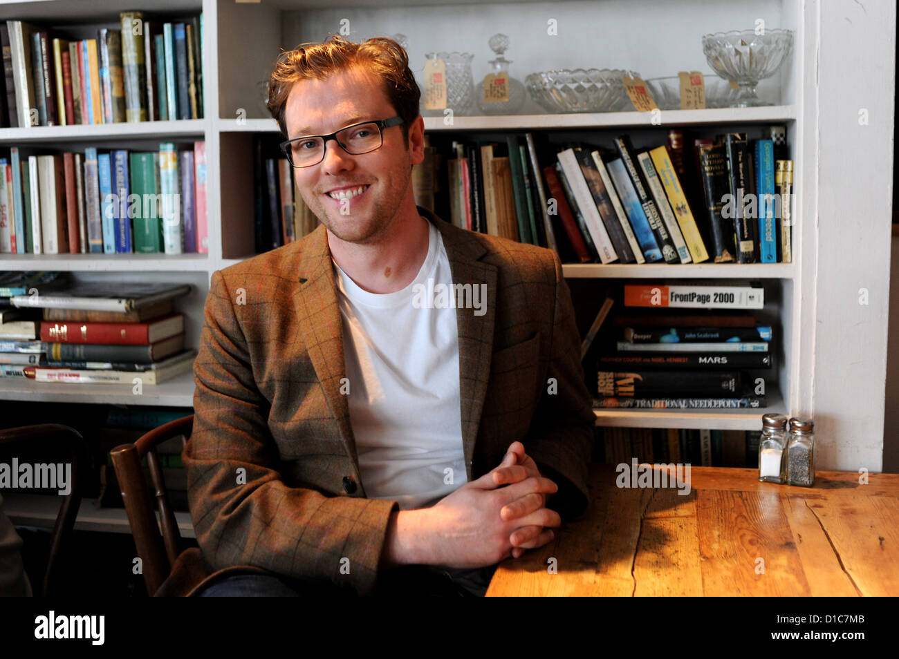 Writer Damian Barr photographed at the Tin Drum in Seven Dials Brighton UK March 2011 - Stock Image