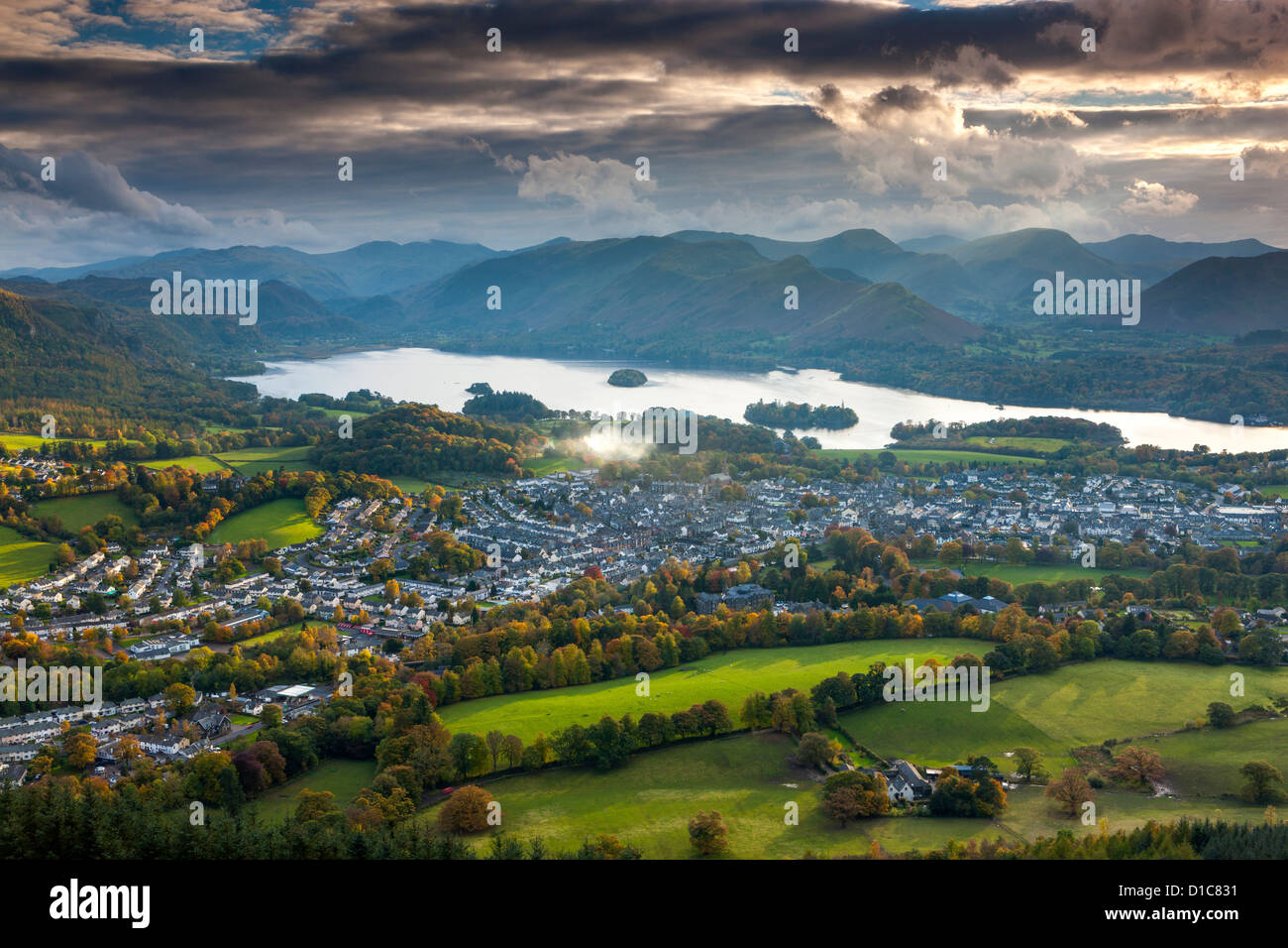 View over Keswick and Derwent Water from Latrigg summit, Lake District National Park. - Stock Image