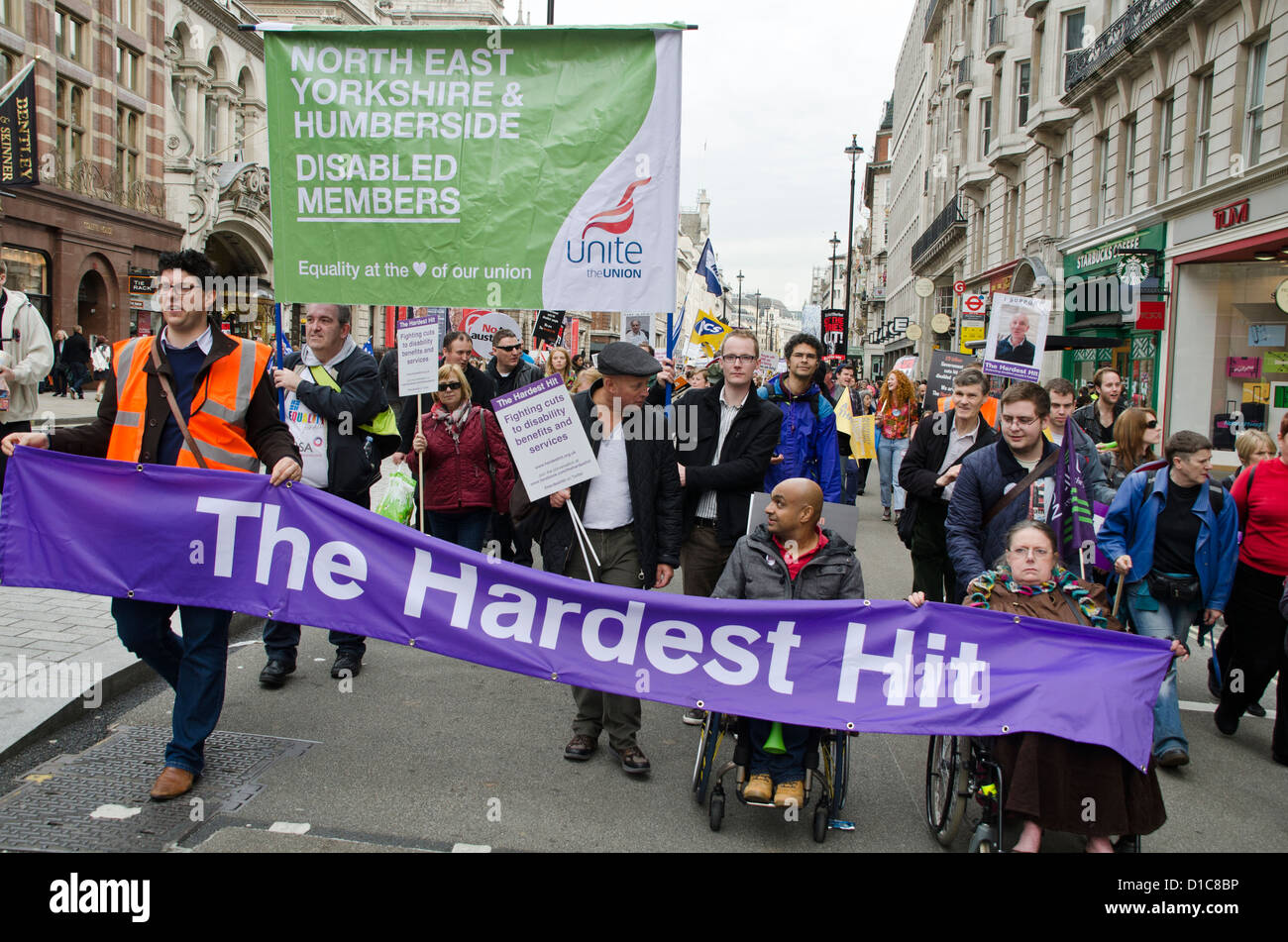 DEMO AGAINST AUSTERITY CUTS BY THE BRITISH GOVERNMENT IN 2012 - Stock Image