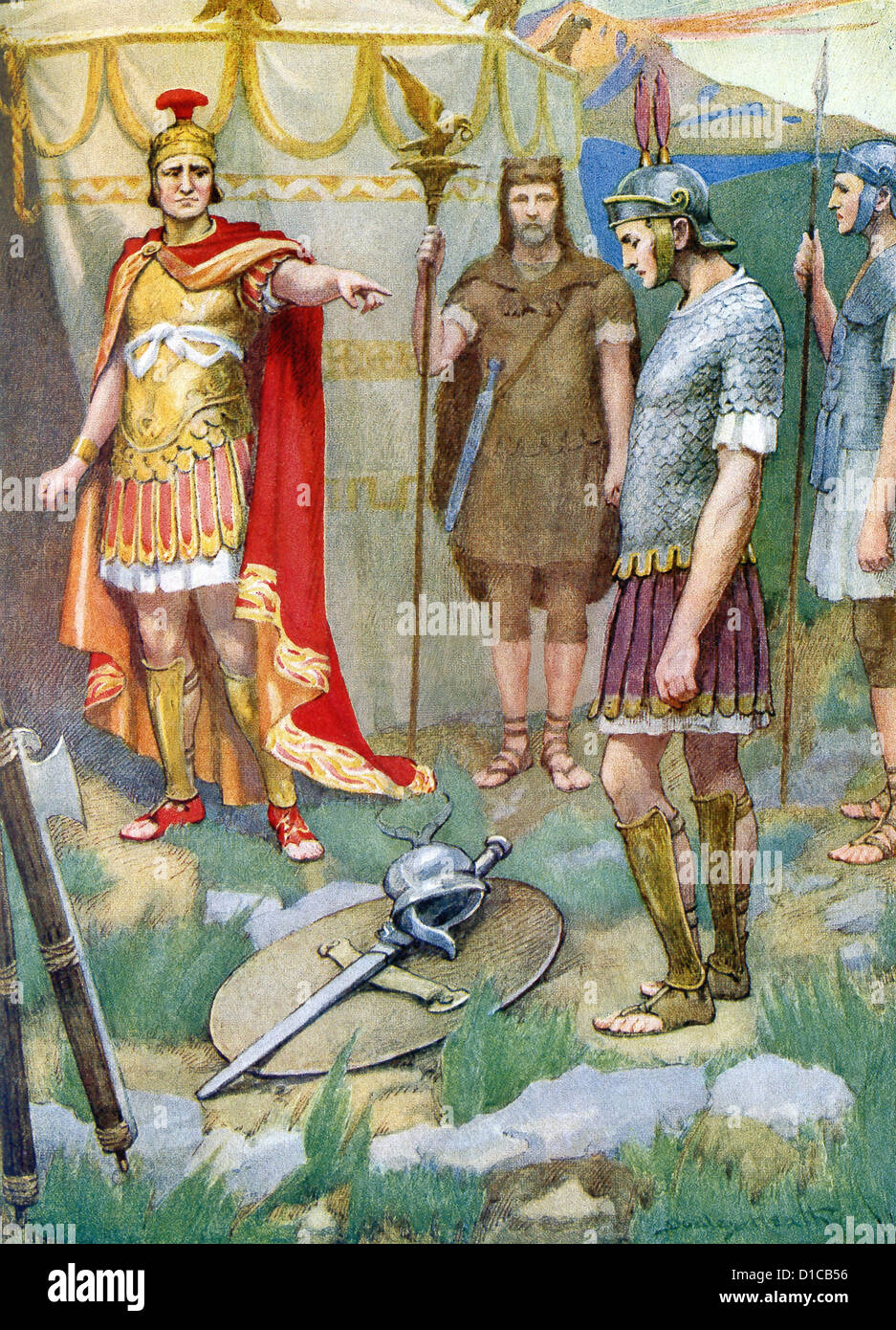 Roman consul Manlius Torquatus condemns his son to death for disobeying military rules. - Stock Image