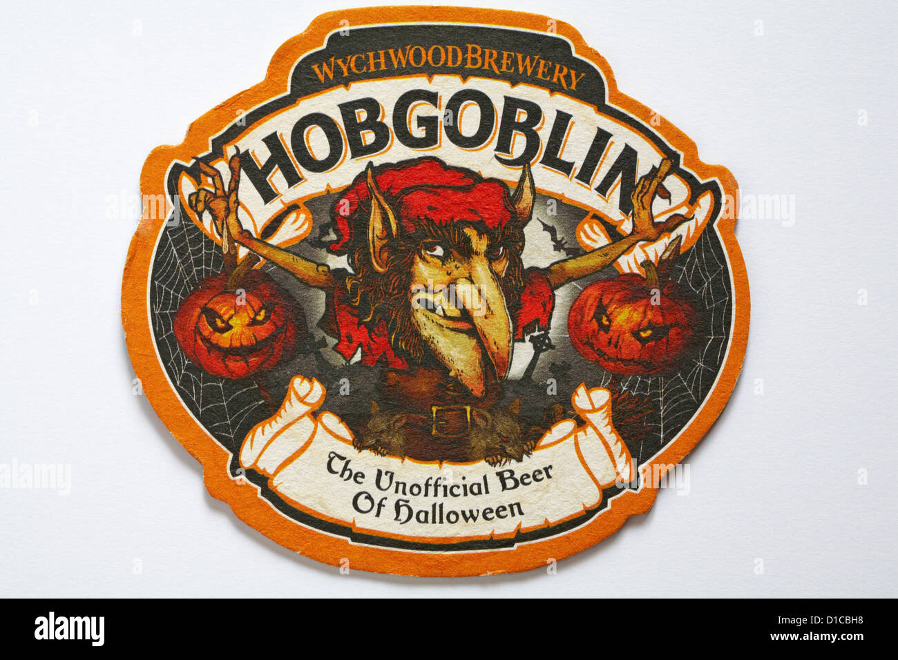 Beer mat Wychwood Brewery Hobgoblin The Unofficial Beer of Halloween isolated on white background Stock Photo