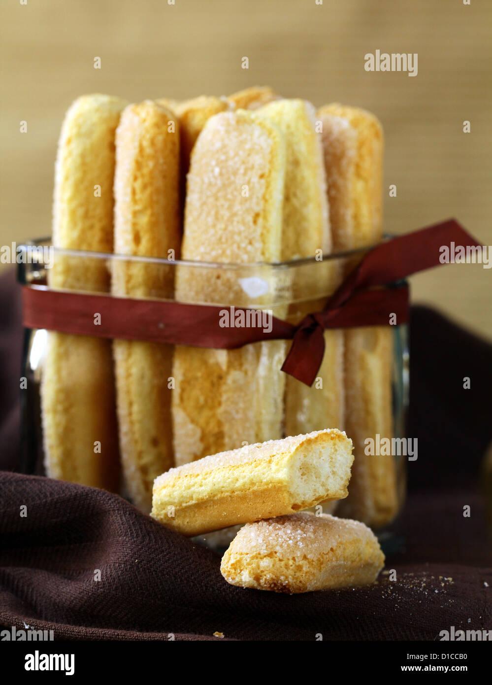 Traditional Italian sugar biscuit cookies savoiardi - Stock Image