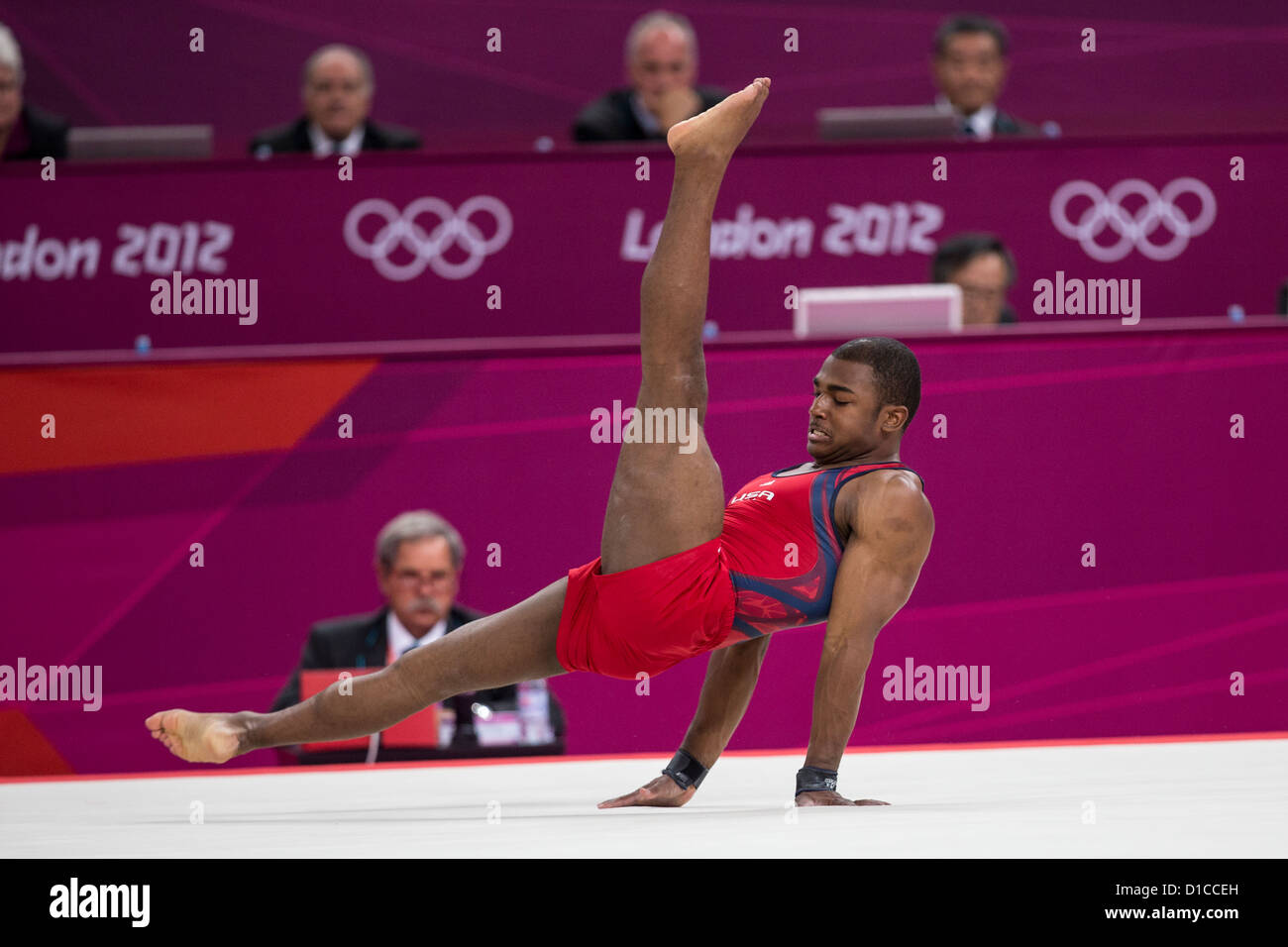 John Orozco (USA) preforming the floor exercise during the Men's Gymnastics Individual All-Around at the 2012 - Stock Image