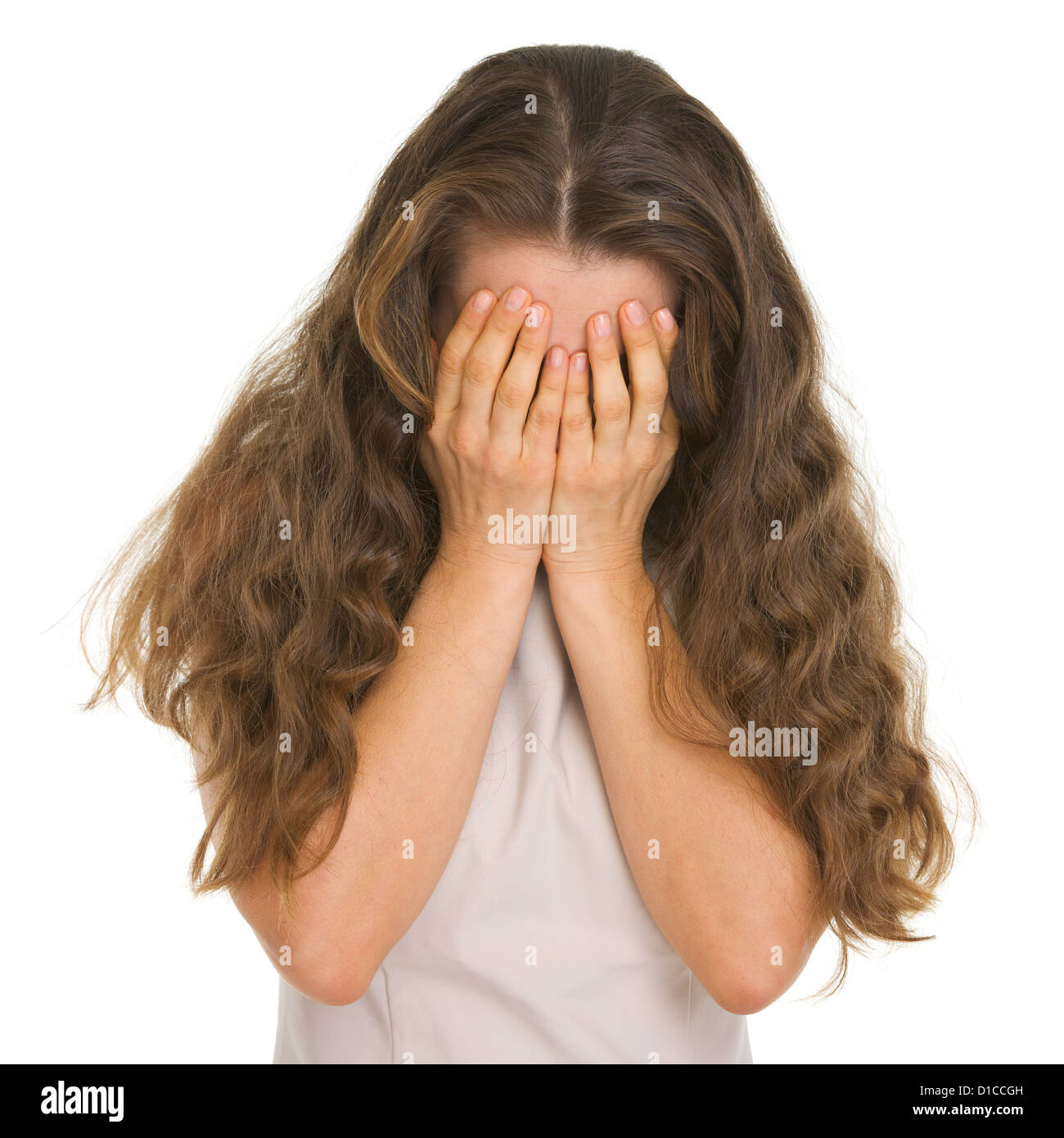 Portrait of woman crying - Stock Image