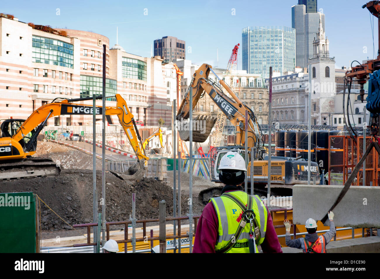 Bloomberg HQ construction site Cannon Street City of London England UK - Stock Image