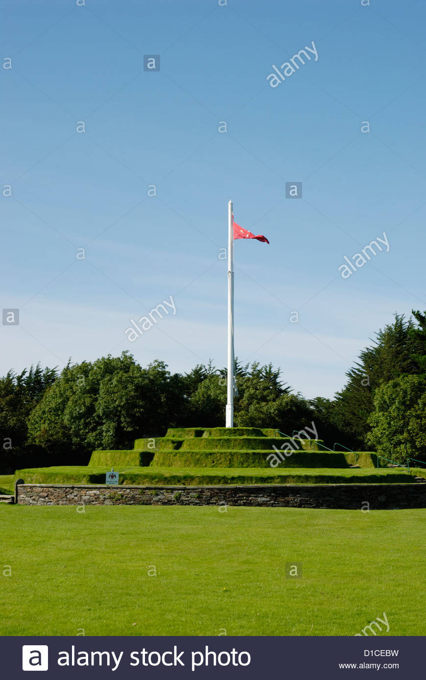 flagpole on Tynwald Hill at St John's on the Isle of Man - Stock Image