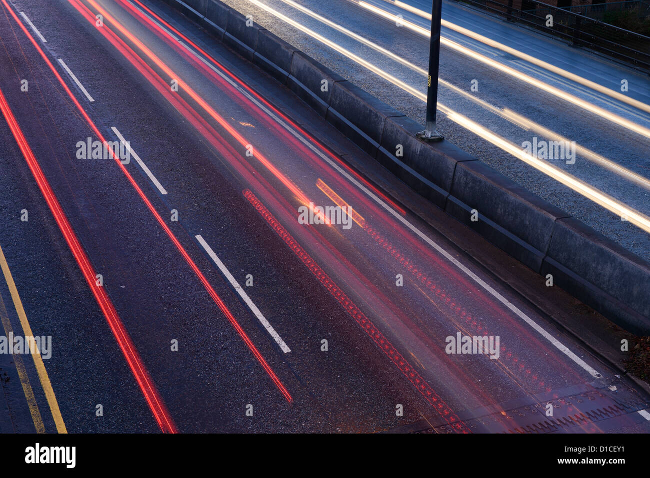 Car traffic light trails on a dual carriageway - Stock Image