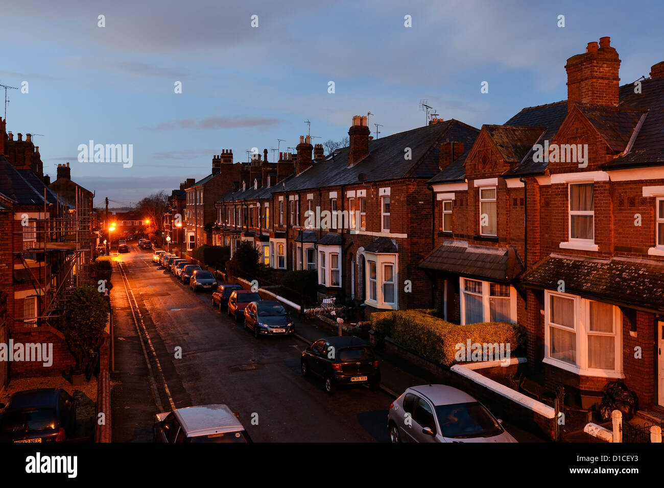 Suburban street at night - Stock Image