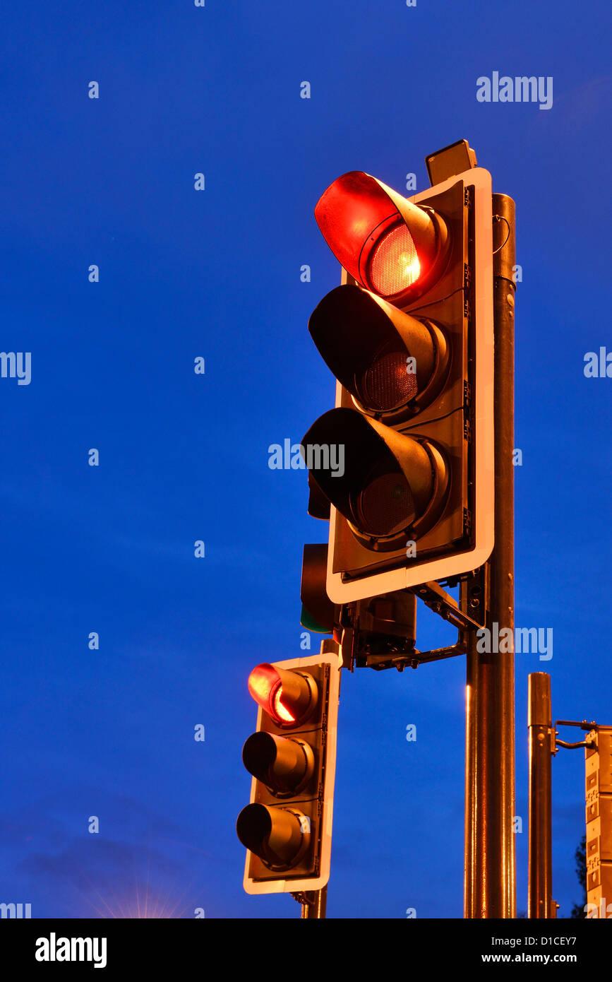 Red traffic lights - Stock Image