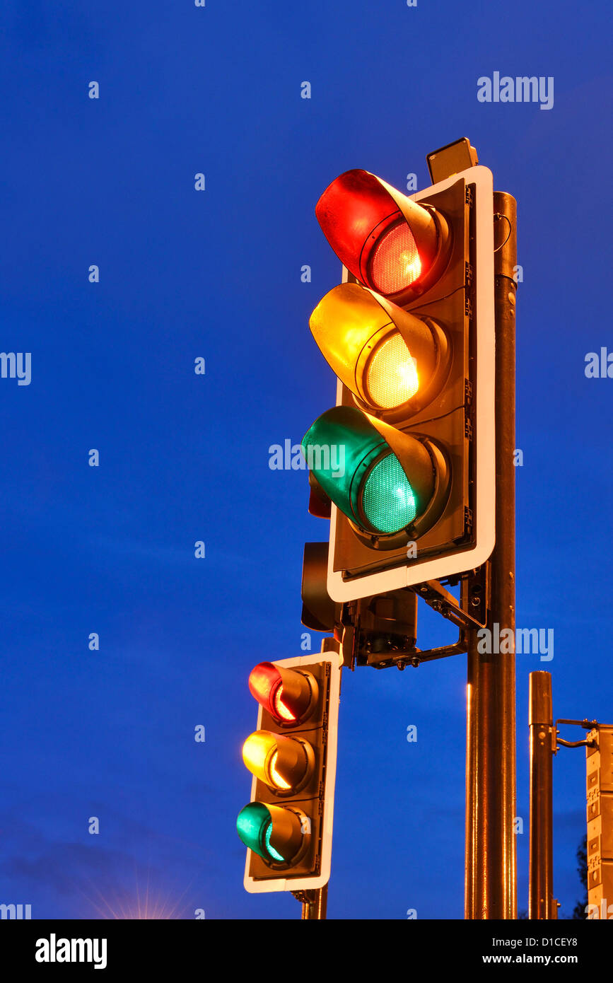 Red Amber Green traffic lights - Stock Image