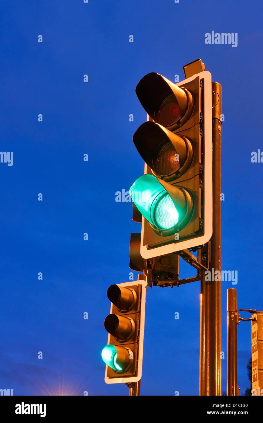 Green traffic lights - Stock Image