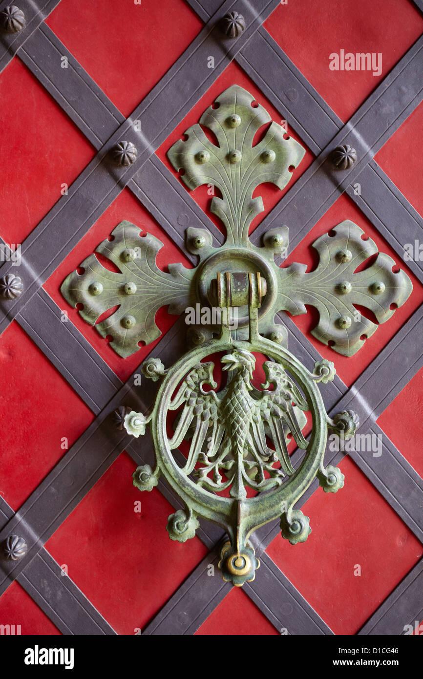 Door Knocker, Krivoklat Castle, Czech Republic, Europe - Stock Image