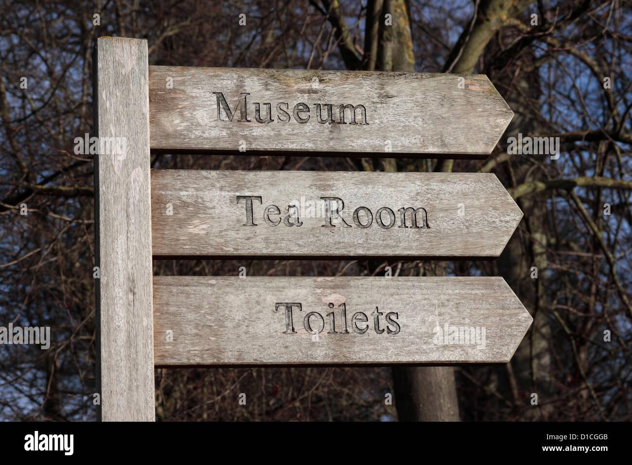 Cusworth Hall Museum Tea Room Toilets Sign Post - Stock Image