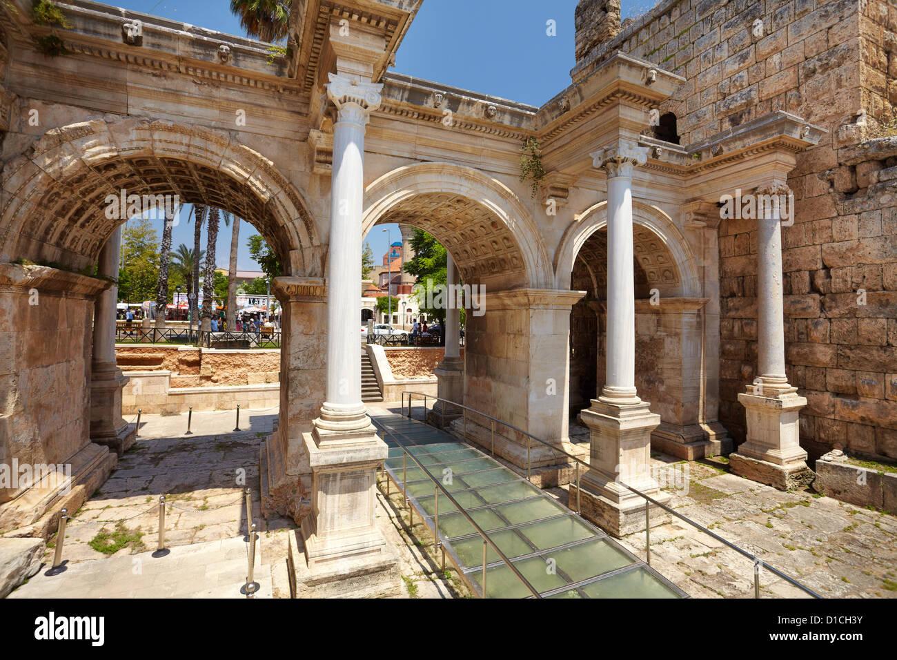 View of Hadrian's Gate Antalya Turkey - Stock Image