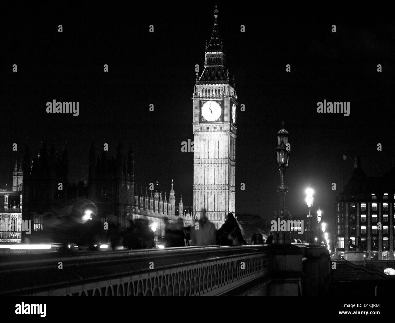 View of Westminster bridge,Big Ben clock tower and the Palace of Westminster (Houses of Parliament), UNESCO World Stock Photo