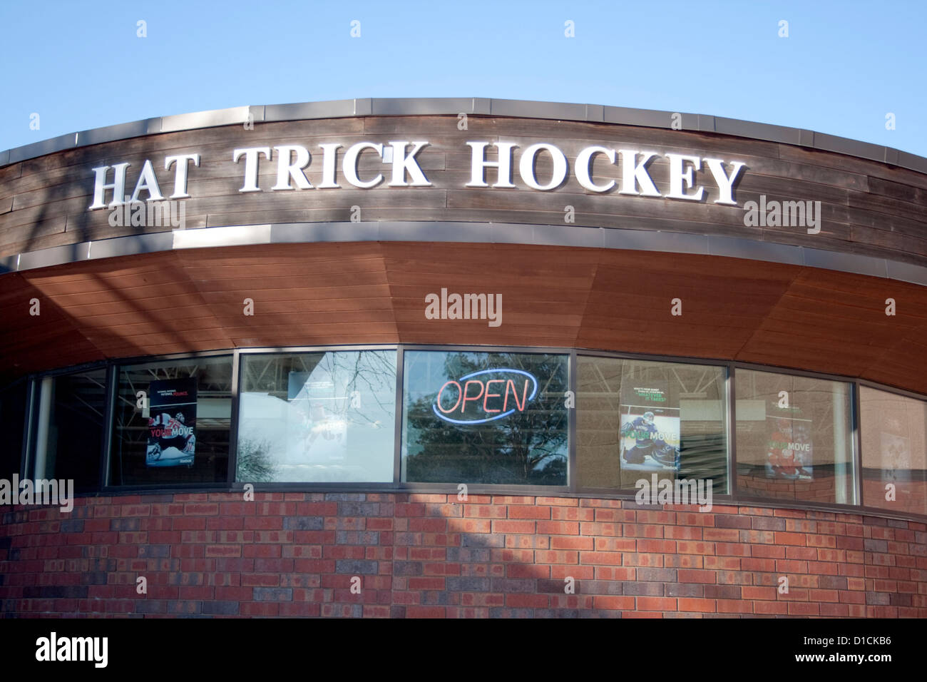 Hat Trick indoor ice Hockey Arena marquee. Richfield Minnesota MN USA - Stock Image