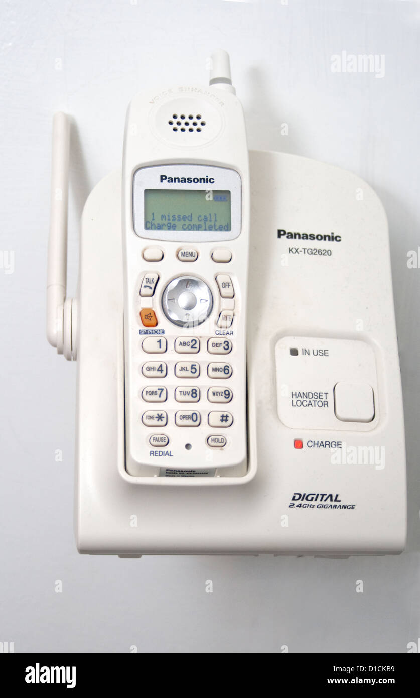 White Panasonic KX-TG2620 digital wall mounted telephone. St Paul Minnesota MN USA - Stock Image