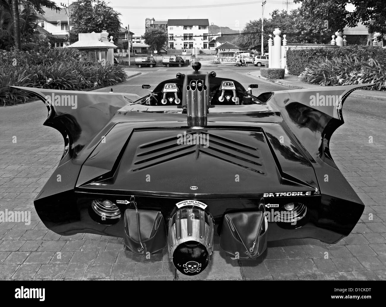 Batmobile customised road car developed from a Chevrolet Impala chassis and Lexus engine. Thailand S. E. Asia Black - Stock Image