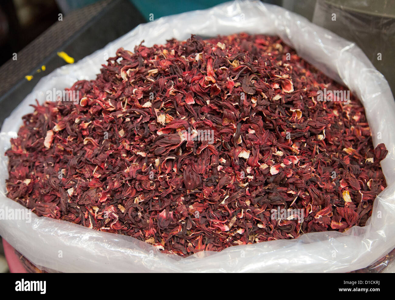 Bag Of Dried Hibiscus Or Jamaica Flower Petals Xochimilco