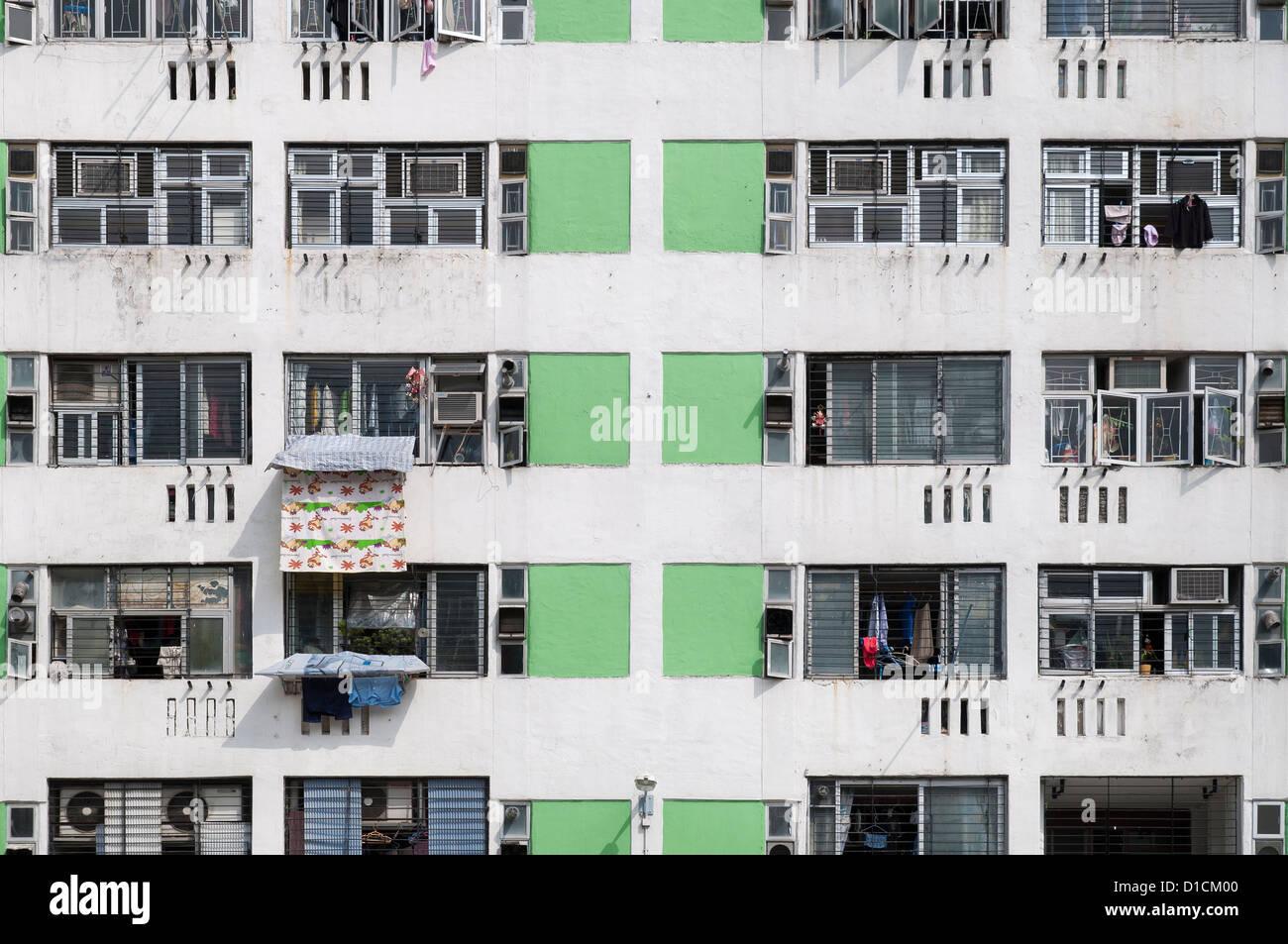 High density public housing on the Lek Yuen Estate, Sha Tin, Hong Kong - Stock Image