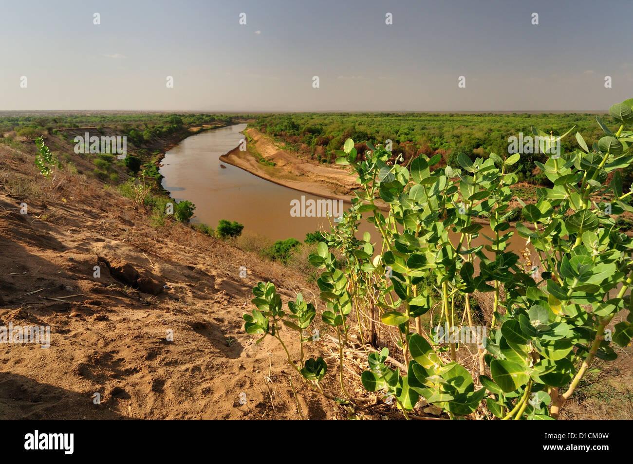 Omo River, Omo River Valley, Ethiopia, Africa - Stock Image