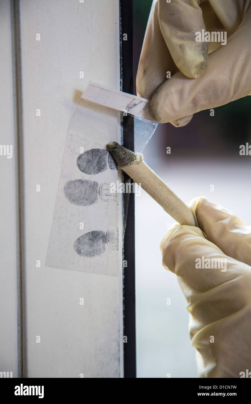 Police crime scene unit, securing of evidence. - Stock Image