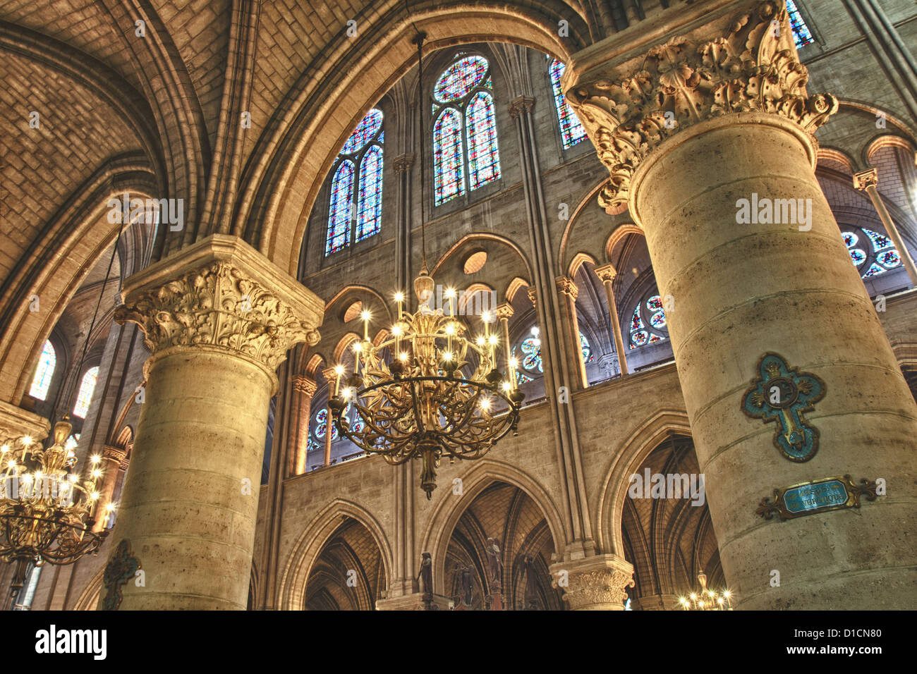 Interior view of Notre Dame in HDR, Paris, France - Stock Image