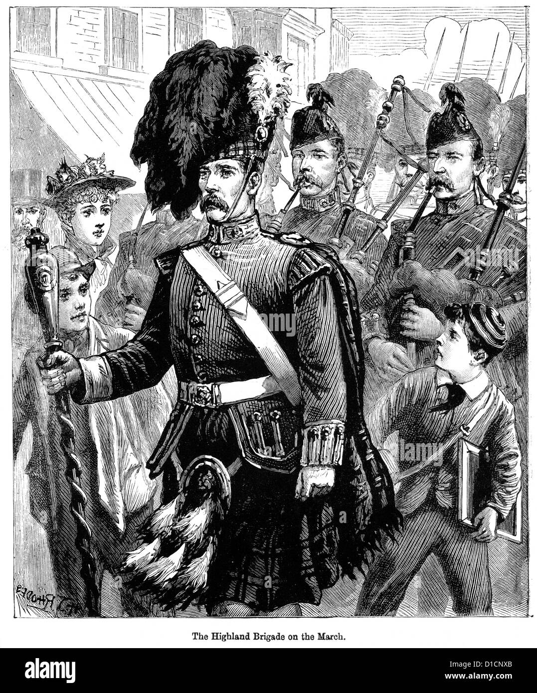 Victorian engraving of the Highland Brigade of the British army on the March, 1897 - Stock Image