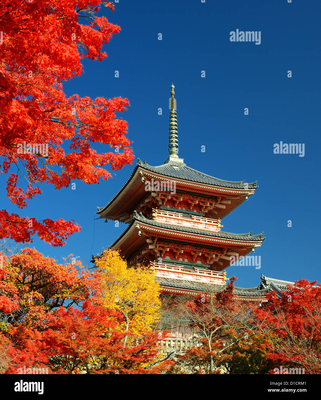 The pagoda of Kiyomizu-dera in Kyoto, Japan. - Stock Image