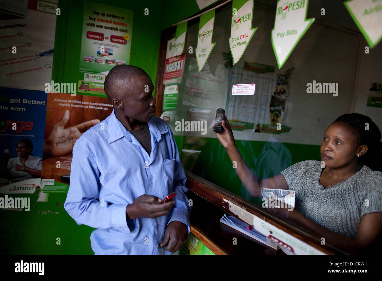 M-Pesa mobile-phone money transfer service in Kenya Stock Photo